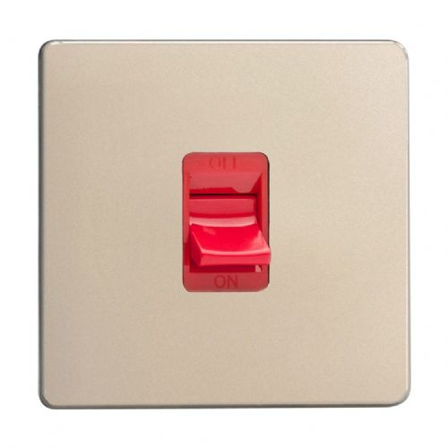Varilight XDN45SS Screwless Satin Chrome 45A DP Cooker Switch Single Plate